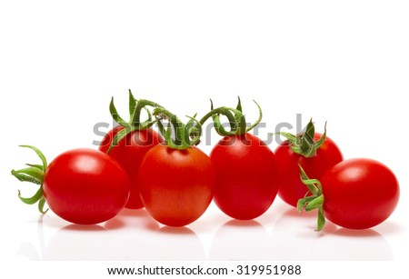 Six bright ripe juicy tomato on white background with original shadow - stock photo