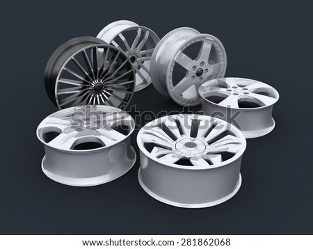 Six car disc on a white background (done in 3d)      - stock photo