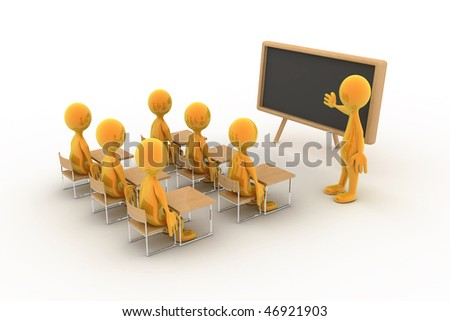 Six children/students/people are listening to a lecture. - stock photo