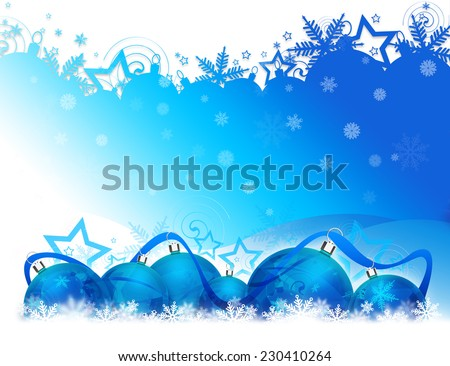 Six Christmas balls on blue and white background with blue ribbon lying on snowflakes - stock photo
