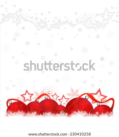Six christmas balls on snowflakes on white background - stock photo