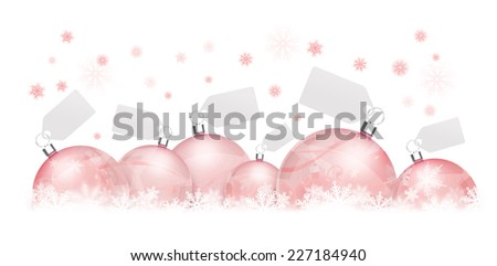 Six Christmas balls on snowflakes with cards on white background - stock photo