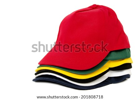Six Colored Caps Stacked, Isolated on White Background - stock photo
