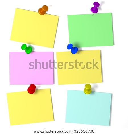 Six colored notes with pins on a white background. Rendered illustration. - stock photo