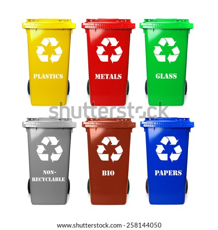 Six colorful recycle bins on white - stock photo