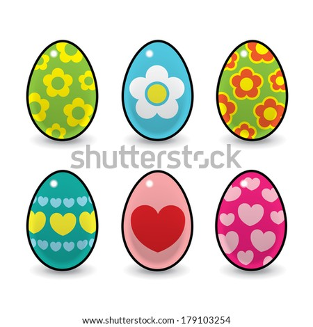 Six Colourful Easter Eggs Decorated with various Hearts and Flowers on White Background - Raster
