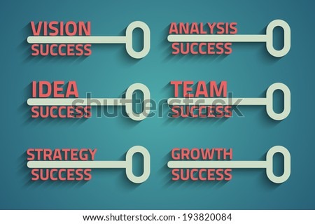 Six creative keys with business words, growth concept - stock photo