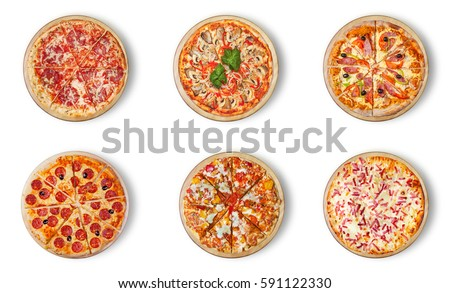Six different pizza set for menu. Italian food traditional cuisine. 1) Meat pizzas with  salami 2) seafood 3) ham 4)pepperoni 5) barbecue 6) flaming pie.