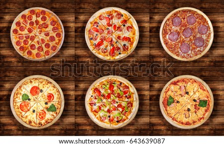 Six different pizza set for menu. Meat pizzas with 1) Pepperoni 2)Pepperoni and ham 3) Salami 4) Margarita 5)Pizza pepperoni deluxe 6)Pizza Hawaii.