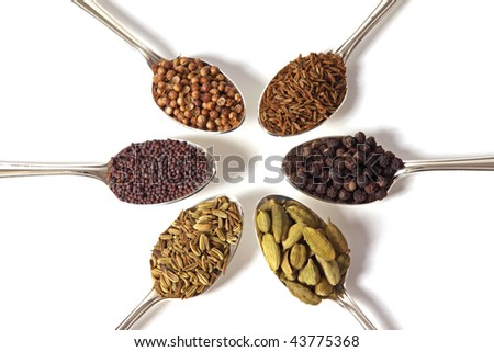 Six different whole spice seeds in silver spoons on a white background - stock photo