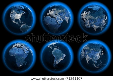 Six Earth Globes of the night - stock photo