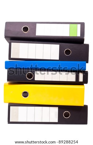 six files stand about one another on white background