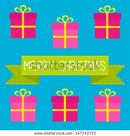 Six gift boxes with ribbons and bows. Merry Christmas card. Rasterized copy