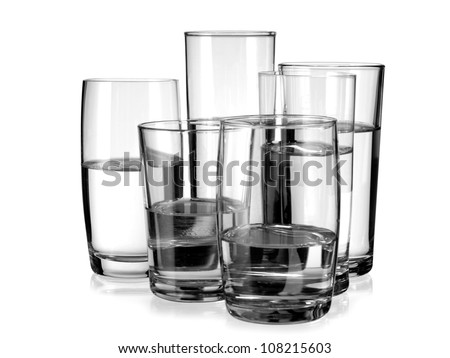 Six glasses with water