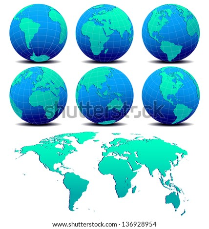 Six Global Worlds and World Map - SET ONE - World Globe on a white background - The base map is from Nasa and Hand drawn using the pen tool for maximum detail - Raster Version - stock photo