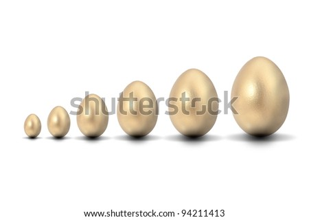 Six golden eggs starting from small to big