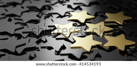 Six golden stars over black background. 3D illustration of high quality customer service