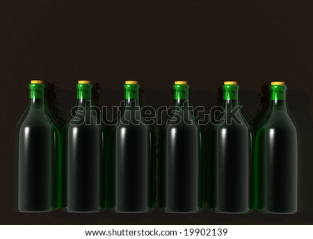 Six Green Glass Wine Bottles on Black