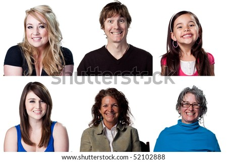 Six grinning toothy smiles from these attractive actors - stock photo