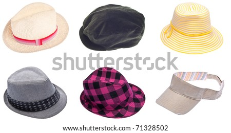 Six Hats for Men and Women Isolated on White with a Clipping Path. - stock photo