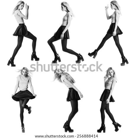 six image of the same fashion model in different poses. Studio shot - stock photo