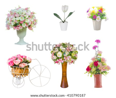six isolated Artificial flower vases with clipping path on white background