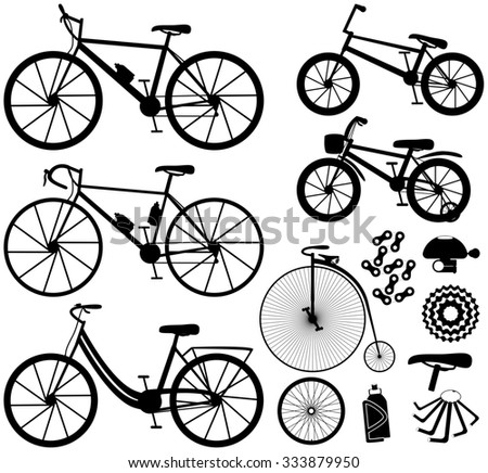 Six kinds of bicycles: mountain (or cross-country), road ,city, bmx, kids and penny farting bike (or retro, vintage). And some bike accessories. Vector illustration. - stock photo