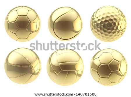 Six kinds of golden balls: soccer, tennis, golf, basketball, volleyball, football isolated over white background - stock photo
