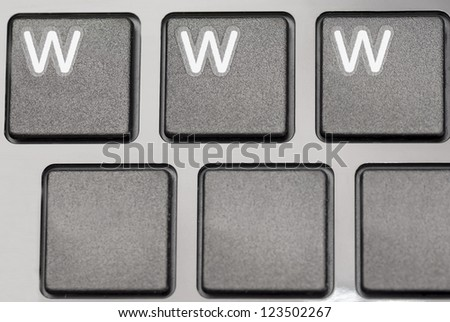 six laptop keys, three blank and three with WWW.