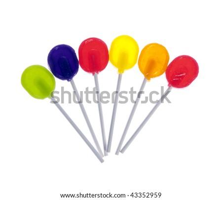 Six lollipops isolated on white background. - stock photo