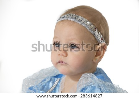 six-month girl in blue costume princess