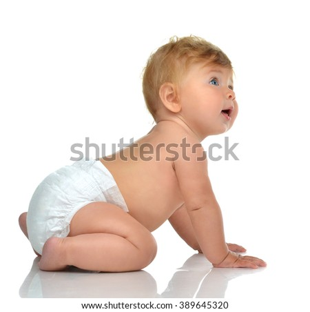 Six month infant child baby toddler sitting in diaper looking at the corner isolated on a white background - stock photo