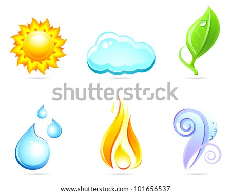 Six nature signs : sun ,cloud ,leaf ,water ,fire ,wind . Icons set.