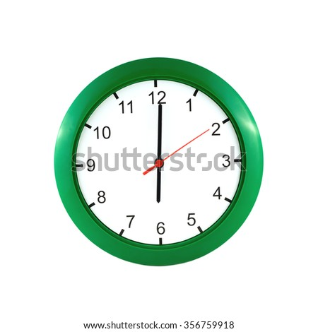 Six o'clock on big wall clock in green case isolated on white closeup - stock photo