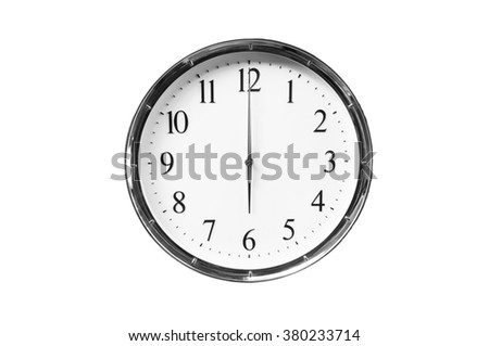 Six o'clock on the white wall clocks (isolated) - stock photo