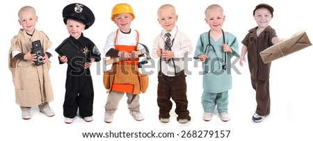Six Occupation Versions Represented by a Child Police Construction Doctor Mail and Photographer