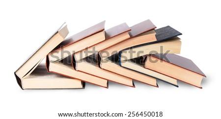 Six of nested books isolated on white background - stock photo