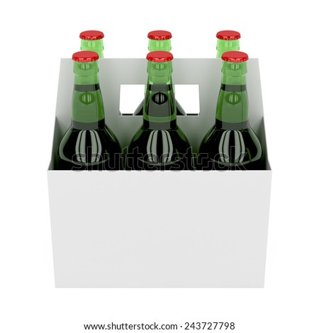 Six pack of beer bottles on white background - stock photo