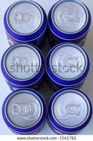 Six pack of cold drinks cans - stock photo