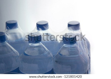 Six pack of mineral water - stock photo