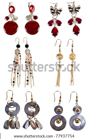 six pairs of bright luxurious earrings - stock photo