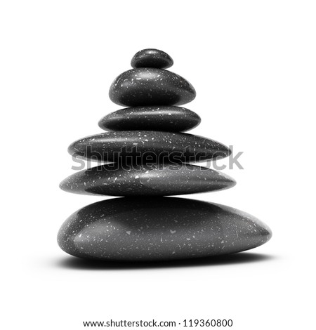 six pebbles stacked over white background with shadow