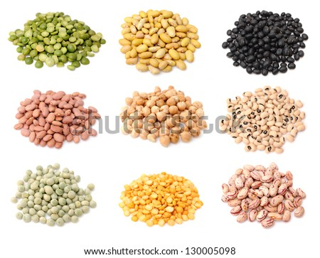 six pile of mix bean and pea  on white background