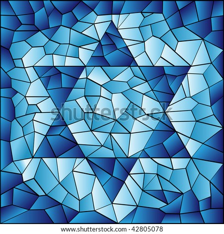 Six pointed star in blue stained glass mosaic