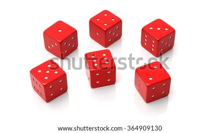 Six red dices with one to six numbers, isolated on white background - stock photo