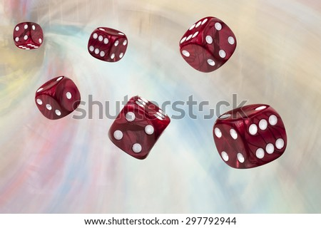 Six red rolling dices on abstract background - stock photo
