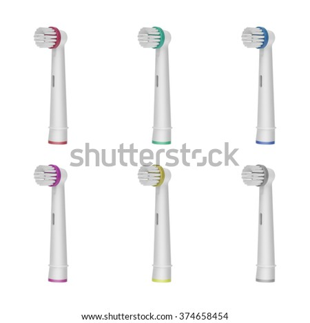 Six replacement brush heads for electric toothbrush isolated on a white background. With differently colored rings - stock photo