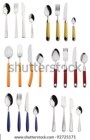 six sets of new cutlery, stainless and colored - stock photo