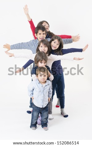 Six siblings from a large family - stock photo