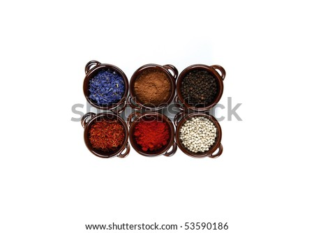 Six spices isolated on white - stock photo